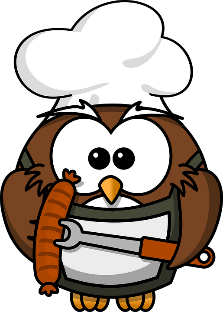 owl in BBQ apron